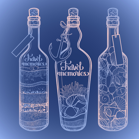 memories: Sand and seashells in bottles.  Travel memories collection. Vector marine design in blue and pink colors
