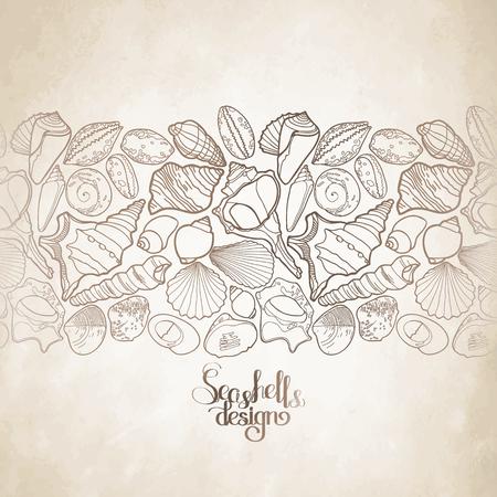 craft paper: Colecci�n de conchas marinas dibujados en l�nea estilo del arte de la textura del papel del arte. Oc�ano frontera sin fin vectorial.