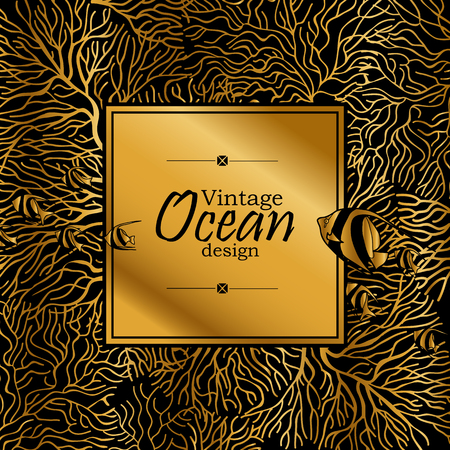 flora fauna: Vintage graphic card with ocean flora and fauna with square frame.  Fish, seashells, seaweed and corals drawn in line art style. Coloring book page design