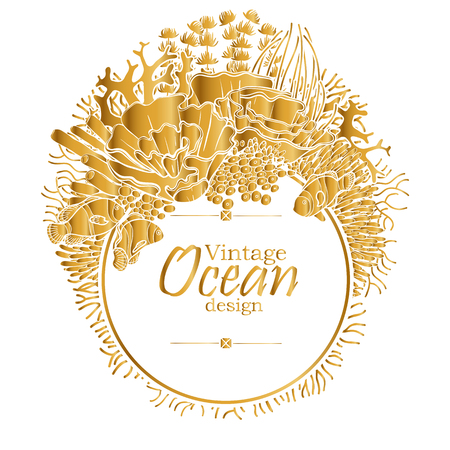 flora fauna: Vintage graphic card with ocean flora and fauna with circle frame.  Fish,  seaweed and corals drawn in line art style in golden colors