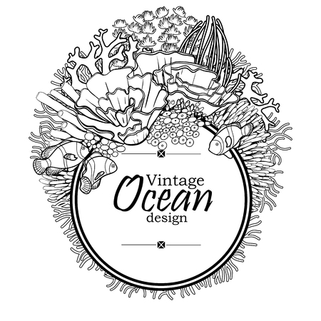 flora fauna: Vintage graphic card with ocean flora and fauna with circle frame.  Fish,  seaweed and corals drawn in line art style on white background. Coloring book page design