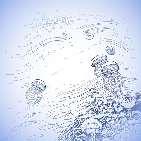 Gráfico Arrecife De Coral Medusas Flotando A La Superficie Del Agua ...