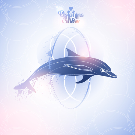 pink dolphin: Graphic dolphin jumping through a hoop. Summer water performance. Sea and ocean vector creatures in blue  and pink colors. Vector isolated art. Coloring book page design Illustration