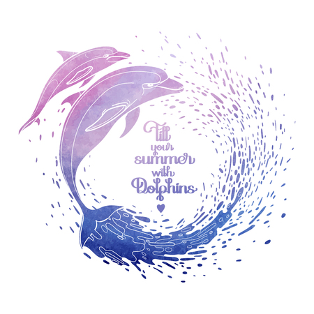 art show: Graphic dolphins with circle of wate rsplashes. Summer mood. Vector watercolor art isolated on white background. Sea and ocean creatures in pink and blue colors