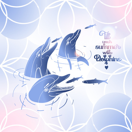 pink dolphin: Graphic feeding dolphins. Dolphins in the water catching fish. Summer mood. Vector art isolated on fantasy background. Sea and ocean vector creatures in blue and pink colors