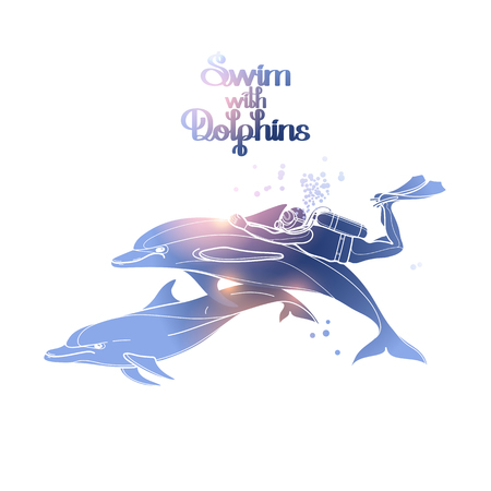 pink dolphin: Graphic scuba diver riding the dolphin. Summer underwater activity. Sea and ocean vector creatures in pink and blue colors. Vector isolated art