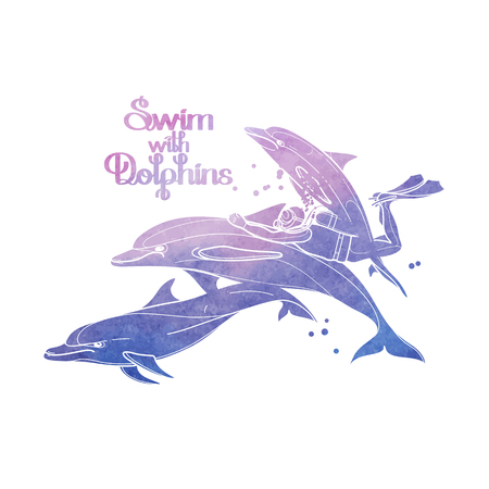 pink dolphin: Graphic scuba diver riding the dolphin. Summer underwater activity. Sea and ocean vector creatures in pink and blue colors. Vector isolated art with watercolor texture Illustration