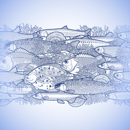 flounder: Graphic ocean fish drawn in line art style. Sea and ocean creatures for seafood menu design. Vector seamless border