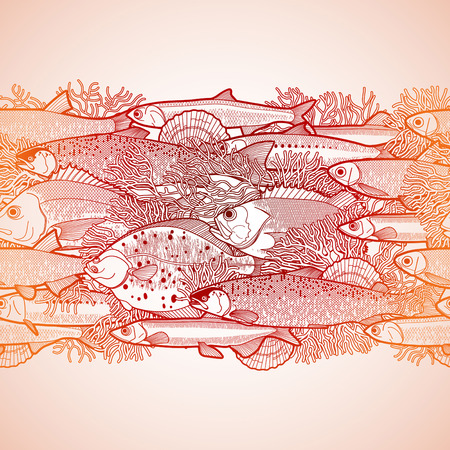 anchovy: Graphic ocean fish drawn in line art style. Sea and ocean creatures for seafood menu design. Vector seamless border