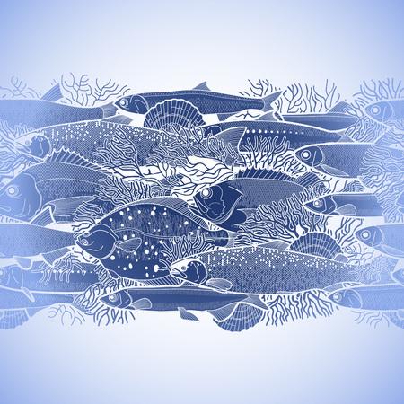 poissons de mer Graphic dessiné dans le style d'art en ligne. Mer et océan créatures pour la conception de menu de fruits de mer. Vector seamless border