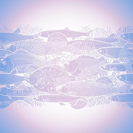 sardine: Graphic ocean fish drawn in line art style. Sea and ocean creatures for seafood menu design. Vector seamless border
