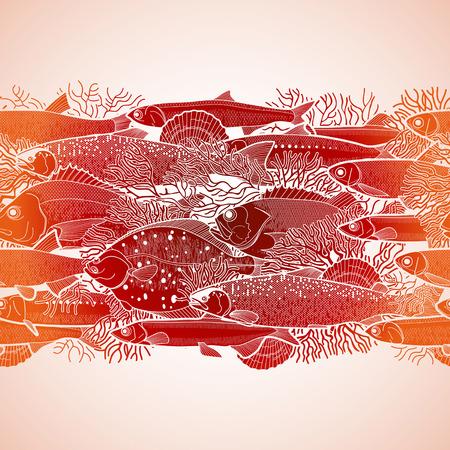 dorado: Graphic ocean fish drawn in line art style. Sea and ocean creatures for seafood menu design. Vector seamless border