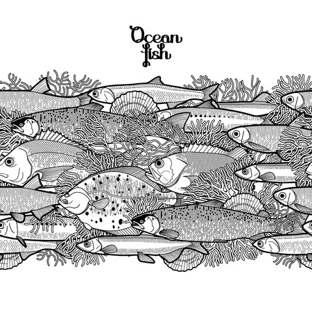 animal border: Graphic ocean fish drawn in line art style. Sea and ocean creatures for seafood menu design. Vector seamless border. Coloring book page design