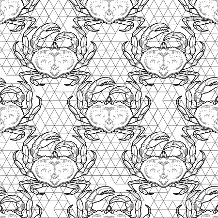 delicacy: Graphic vector crab drawn in line art style. Sea and ocean seamless pattern. Top view. Seafood element. Coloring book page design