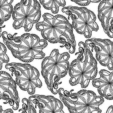 feeler: Graphic octopus drawn in a line art style. Seamless marine pattern. Ocean creature isolated on white background. Coloring book page design