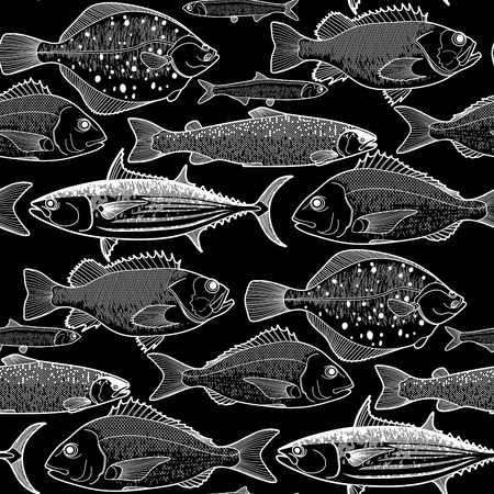 flounder: Graphic fish seamless pattern drawn in line art style. Sea and ocean creatures on black background. Vector element for seafood menu design Illustration