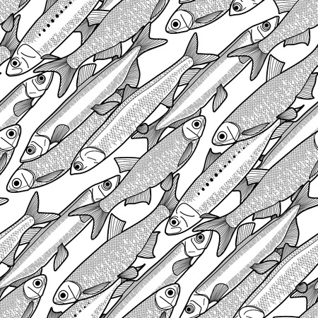 Graphic small  fish seamless pattern drawn in line art style. Anchovy, capelin, sardine and sprat for seafood menu.  Sea and ocean creatures. Coloring book page design  イラスト・ベクター素材