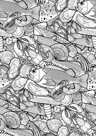 Graphic seafood seamless pattern. Sea and ocean creatures drawn in line art style in black and white colors. Coloring book page design