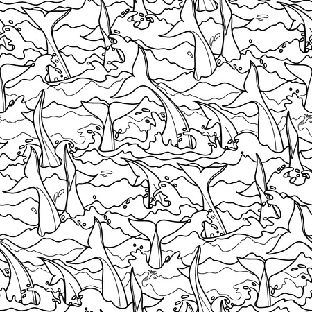tails: Graphic dolphin seamless pattern. Tails in stormy water. Sea and ocean vector creatures in black and white colors. Coloring book page design