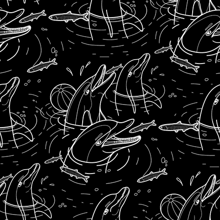 anchovy: Graphic feeding dolphins. Dolphins in the water catching fish. Summer mood. Vector seamless pattern. Sea and ocean vector creatures in black and white colors