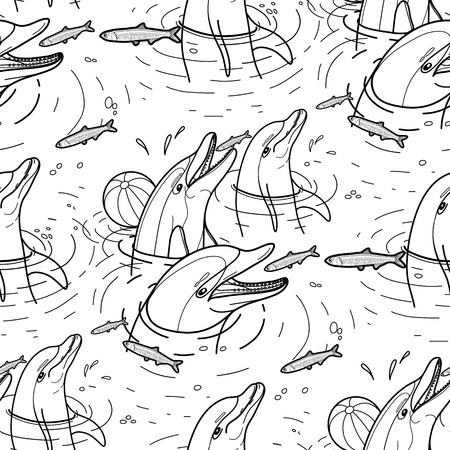 anchovy: Graphic feeding dolphins. Dolphins in the water catching fish. Summer mood. Vector seamless pattern. Sea and ocean vector creatures in black and white colors. Coloring book page design
