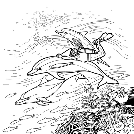 coloring book pages: Graphic scuba diver riding the dolphin over the coral reef. Summer underwater activity. Sea and ocean vector creatures in black and white colors. Vector isolated art. Coloring book page design