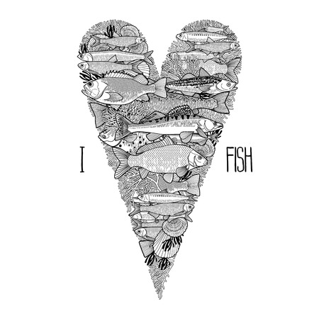 saltwater: Graphic ocean  fish in the shape of tilda heart. Saltwater and freshwater fish for seafood menu. Sea and ocean creatures isolated on white background. Coloring book page design for adults and kids