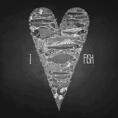 sardine: Graphic ocean  fish in the shape of heart. Saltwater fish for seafood menu. Sea and ocean creatures isolated on chalkboard