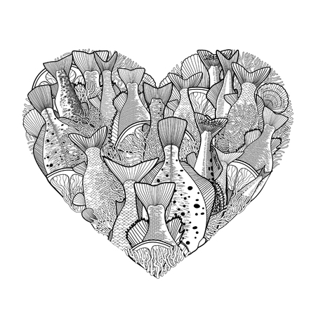 anchovy: Graphic ocean  fish in the shape of heart. Saltwater fish for seafood menu. Sea and ocean creatures isolated on white background. Coloring book page design for adults and kids