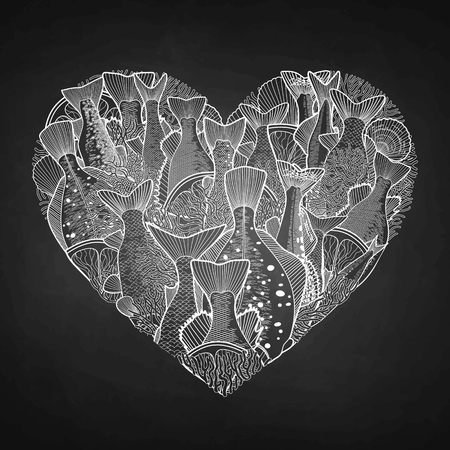 saltwater: Graphic ocean  fish in the shape of heart. Saltwater fish for seafood menu. Sea and ocean creatures isolated on chalkboard
