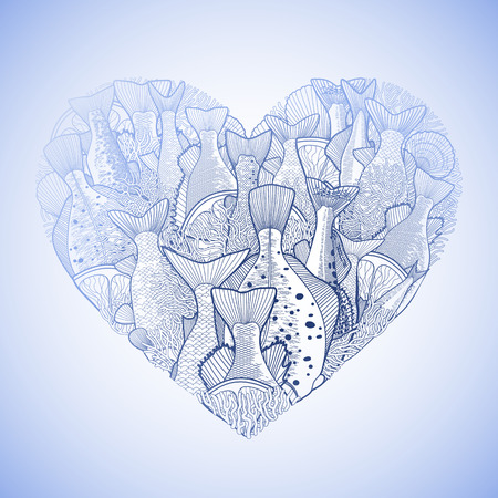 dorado: Graphic ocean  fish in the shape of heart. Saltwater fish for seafood menu. Sea and ocean creatures isolated on white background. Coloring book page design Illustration