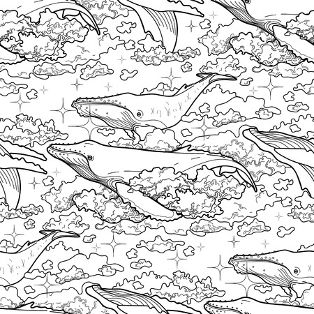 Graphic whales flying in the sky. Sea and ocean creatures. Vector fantasy seamless pattern. Coloring book page design for adults and kids
