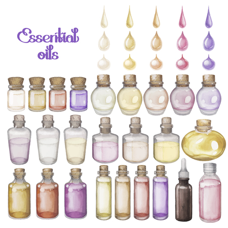 essential: Watercolor essential oils isolated on white background. Hand painted collection of small bottles Illustration