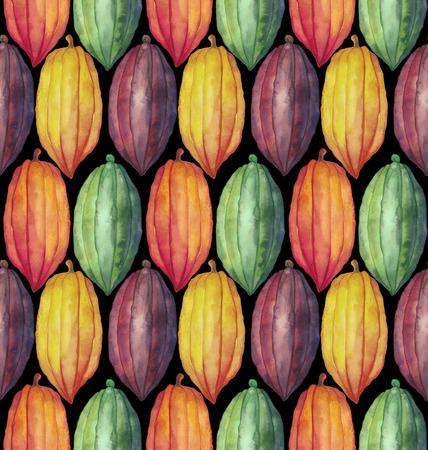 수채화 코코아 과일 원활한 패턴입니다. 손으로 그린 이국적인 다채로운 카카오 식물 스톡 콘텐츠