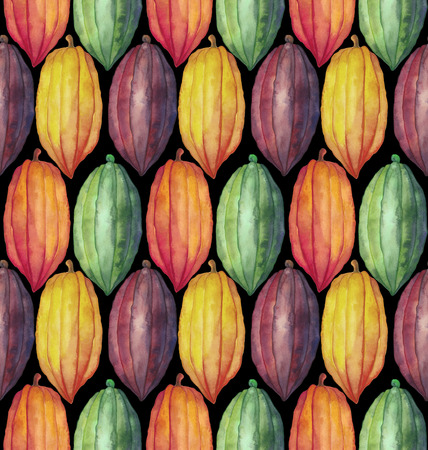 Watercolor cocoa fruit seamless pattern. Hand drawn exotic colorful cacao plants