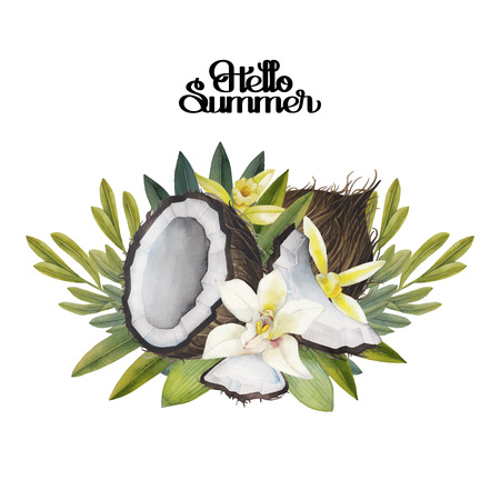 Watercolor vanilla flowers and coconut. Floral vignette. Hand painted natural design isolated on white background.