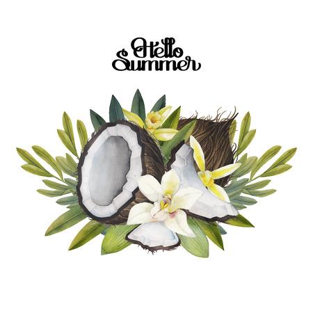 Aquarell Vanilleblumen und Kokosnuss. Floral Vignette. Hand bemalt natürliches Design auf weißen Hintergrund.
