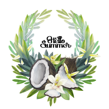 Watercolor vanilla flowers and coconut. Floral wreath. Hand painted natural design isolated on white background.