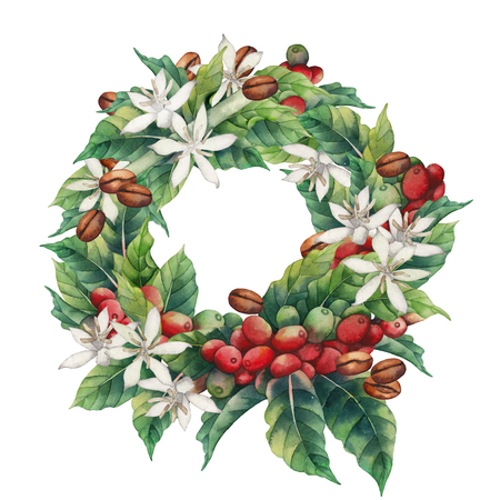 Watercolor coffee wreath isolated on white background. Hand painted leaves, flowers and beans. Floral decoration