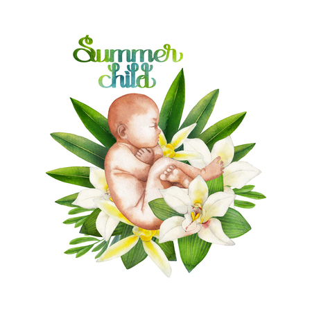 embryology: Watercolor fetus with floral decorations. Hand painted design isolated on white background Stock Photo