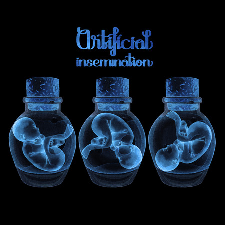 embryology: Watercolor fetus in the glass bottle isolated on black background. X-ray design. Artificial insemination or IVF topic.