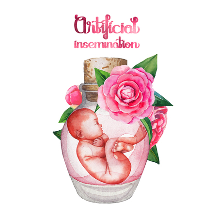 firstborn: Watercolor fetus in the glass bottle with floral decorations. Artificial insemination or IVF topic. Hand painted design isolated on white background Stock Photo