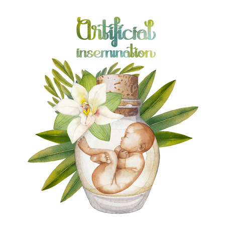 insemination: Watercolor fetus in the glass bottle with floral decorations. Artificial insemination or IVF topic. Hand painted design isolated on white background Stock Photo