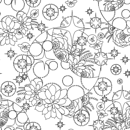 glowworm: Graphic moon with succulent design among stars and glowing butterflies. Abstract fantasy art. Vector seamless pattern. Coloring book page design for adults and kids Illustration
