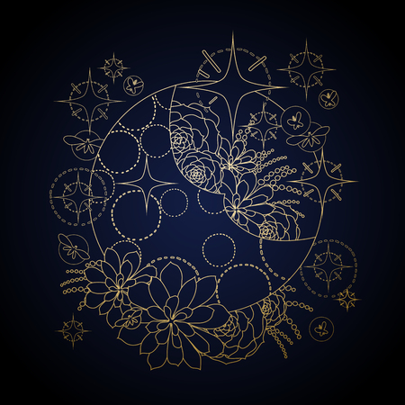 glowworm: Graphic moon with succulent design among stars and glowing butterflies. Abstract fantasy art isolated on black background