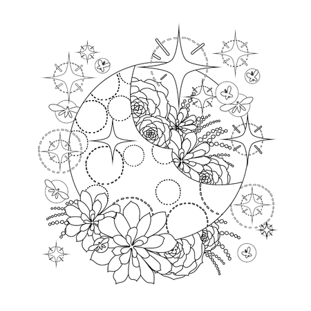 glowworm: Graphic moon with succulent design among stars and glowing butterflies. Abstract fantasy art. Coloring book page design for adults and kids