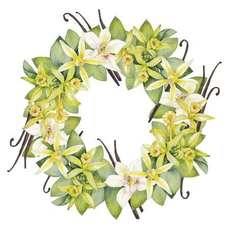 水彩バニラ花輪。手描きの花のデザイン