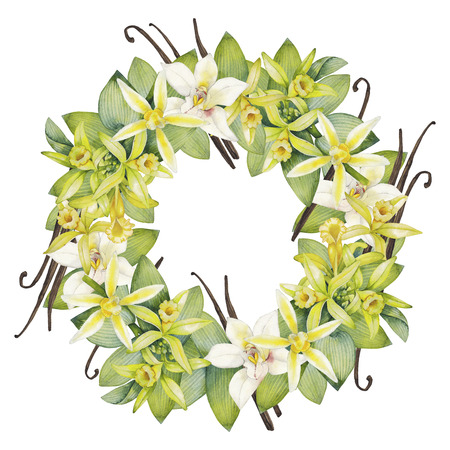 Watercolor vanilla wreath. Hand painted floral design