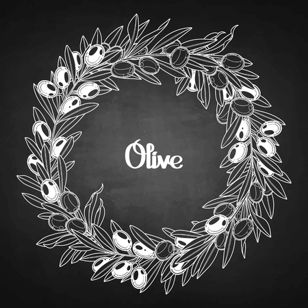 olive wreath: Graphic olive wreath isolated on chalkboard. Vector natural design