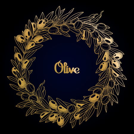 oil crops: Graphic olive wreath. Vector natural design in golden colors Illustration